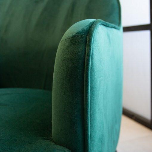 Fauteuil fluweel groen zitting