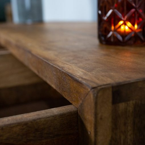 Haltafel hout drie lade metaal