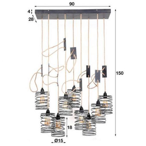 Hanglamp negen industriëlen lamp