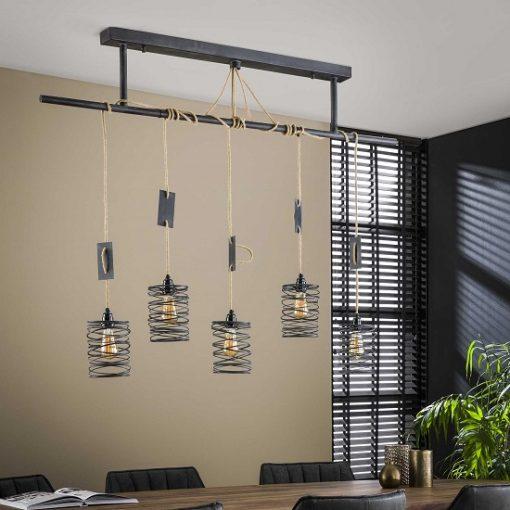 Hanglamp vijf industriëlen design kappen