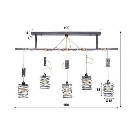 Hanglamp vijf vintage kappen