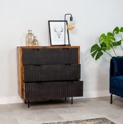 Wandkast vintage drie laden zwart