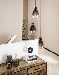Hanglamp gerookt glas industrieel
