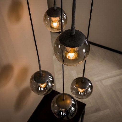 Hanglamp gerookt glas mond geblazen