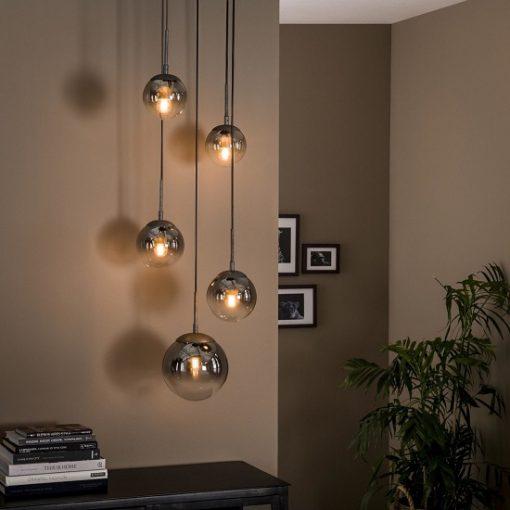 Hanglamp gerookt glas vijf bollen