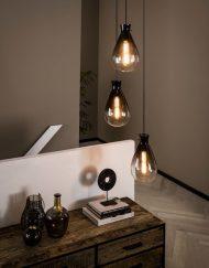 Hanglamp gerookt glas vintage