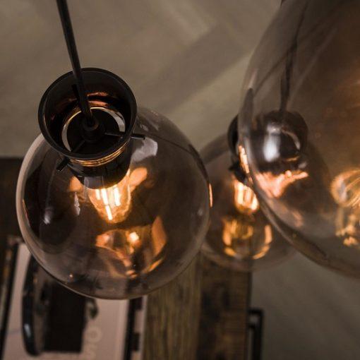 Hanglamp gerookt glas vintage stijl