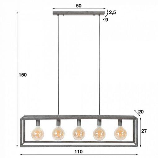 Hanglamp grijs metaal maten