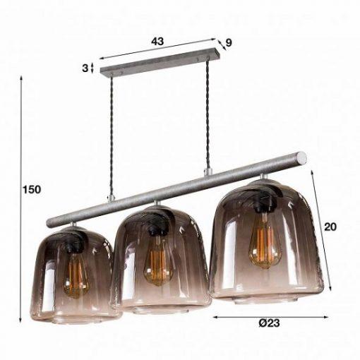 Hanglamp industriële drie glazen kappen