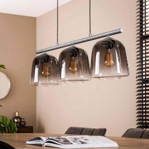 Hanglamp industriële drie kappen vintage