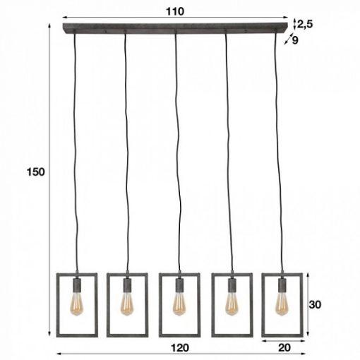Hanglamp vijf lampen grijs