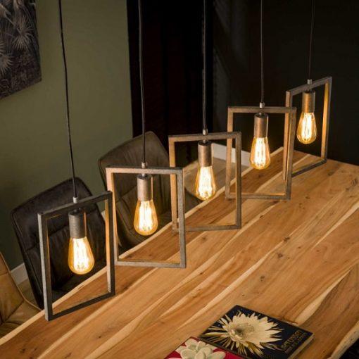 Hanglamp vijf lampen metaal grijzen