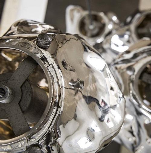 Industriële glazen hanglamp vijf getrapt vintage