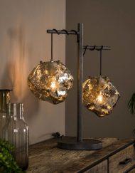 Industriële tafellamp chroom glas