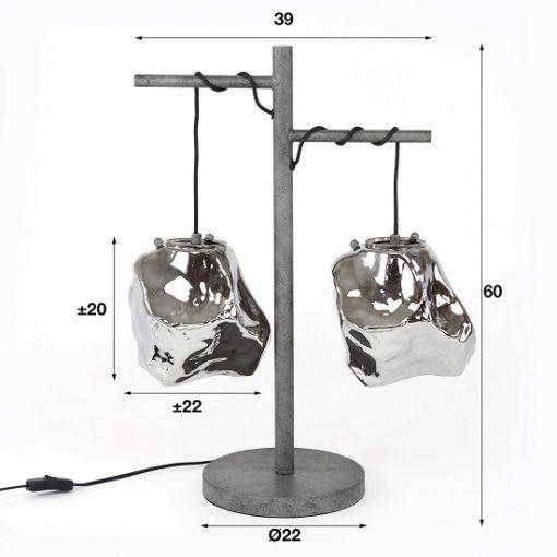 Industriële tafellamp chroom glas elegant