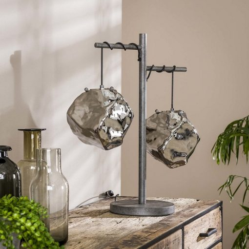 Industriële tafellamp chroom glas geblazen
