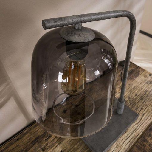 Industriële tafellamp rookglas metaal