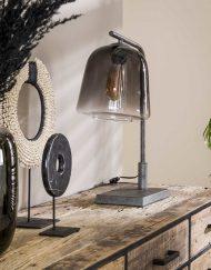 Industriële tafellamp rookglas vintage