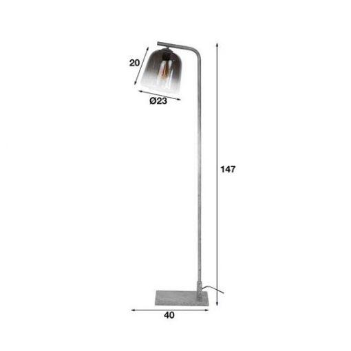 Industriële vloerlamp rookglas grijs robuust