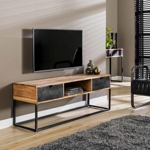 TV meubel twee lade industrieel metaal