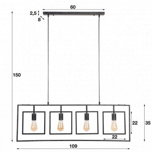 Design hanglamp industrieel vierkant maten