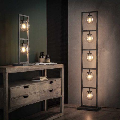 Design tafellamp glas grijs