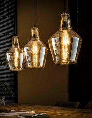 Hanglamp drie glazen kappen