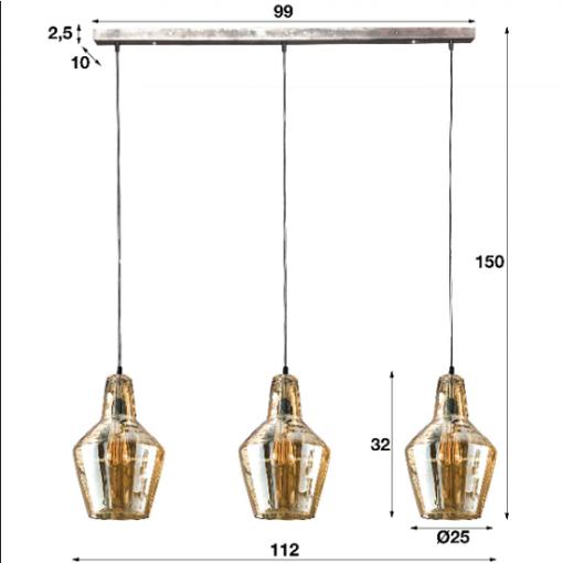 Hanglamp drie glazen kappen amber