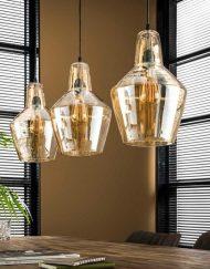 Hanglamp drie glazen kappen vintage