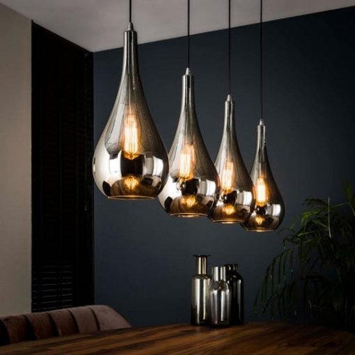 Industrieel hanglamp Chrome glas