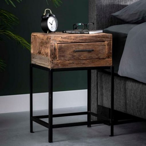 Industrieel nachtkastje hout lade