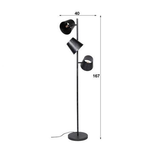 Industriële vloerlamp drie kappen zwart