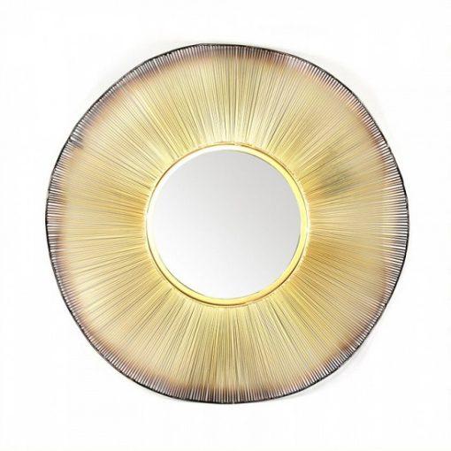 Ronde spiegel goud wave metaal