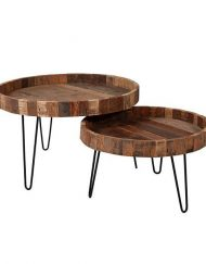 Salontafel set gerecycled hout rond robuust