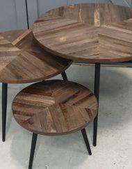 Salontafel set industrieel grijs hout