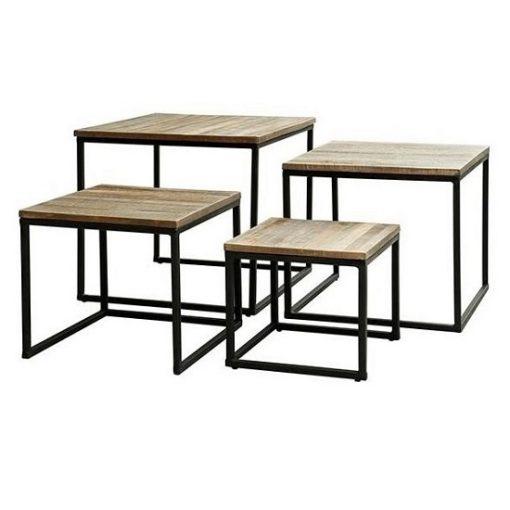 Salontafel vierkant set van 4 hout