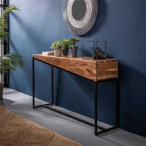 Sidetable zwart frame industrieel hout