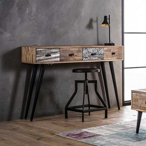 Teakhout sidetable vier lades