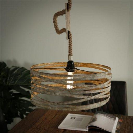 Touw hanglamp verweerd zink