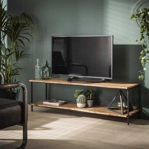 Tv-meubel hout metaal landelijk