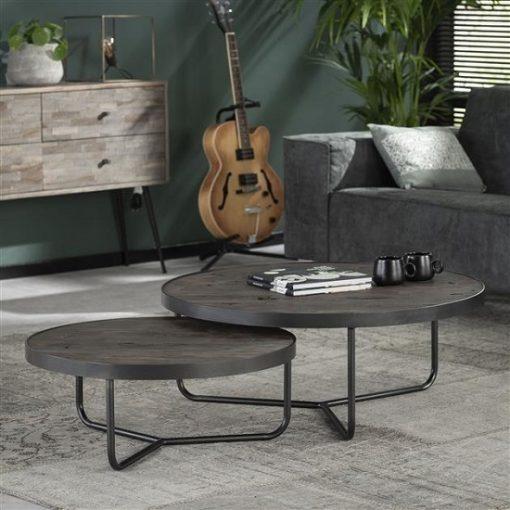 industriële salontafel set grijs
