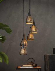 Hanglamp getrapt zwart brons