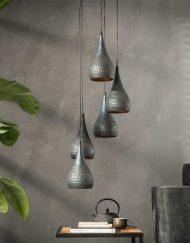 Hanglamp getrapt zwart brons goud