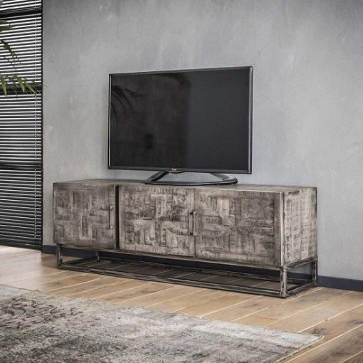 Industrieel tv-meubel grijs antiek