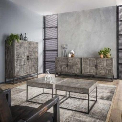Industrieel tv-meubel grijs antiek robuust