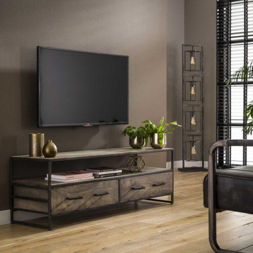 Tv meubel industrieel grijs acacia hout