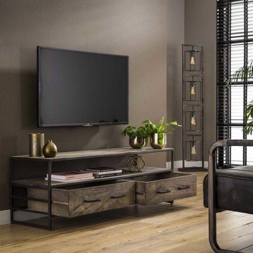 Tv meubel industrieel grijs hout